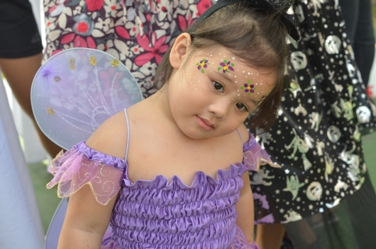 A Fairy Princess with her face painted posing for the camera