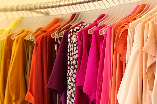 condo closet organize by colors