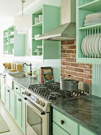 green condo kitchen