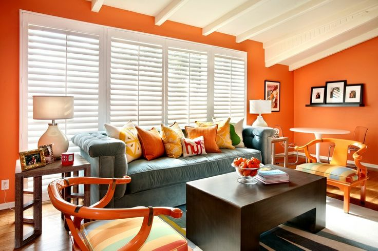 orange condo living room