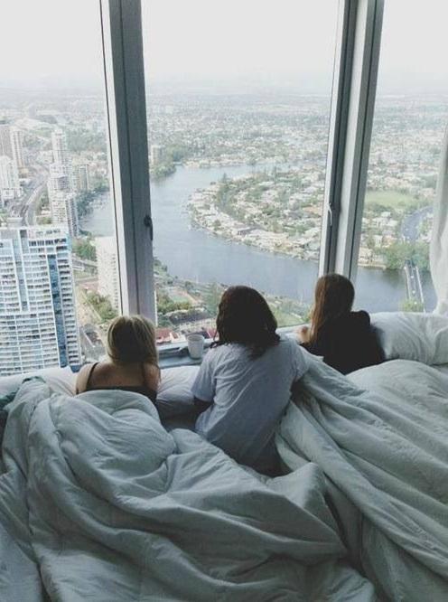 condo bedroom with friends