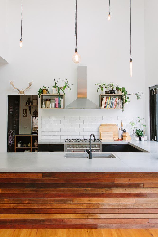 wood-panelled condo kitchen