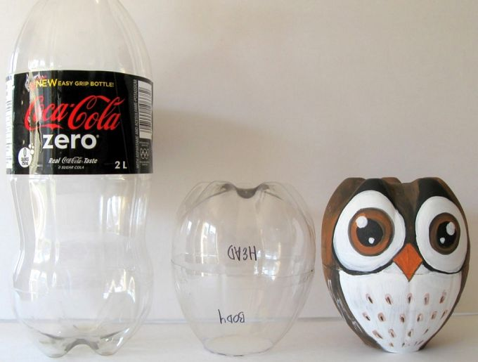 An Owl Designed Empty Soda Bottle