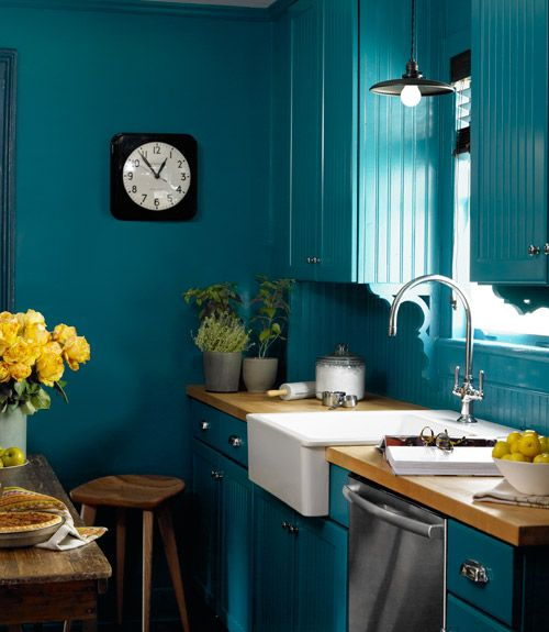 blue-colored condo kitchen