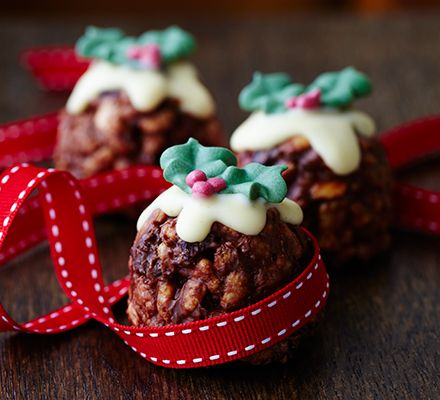 christmas pudding rice treats
