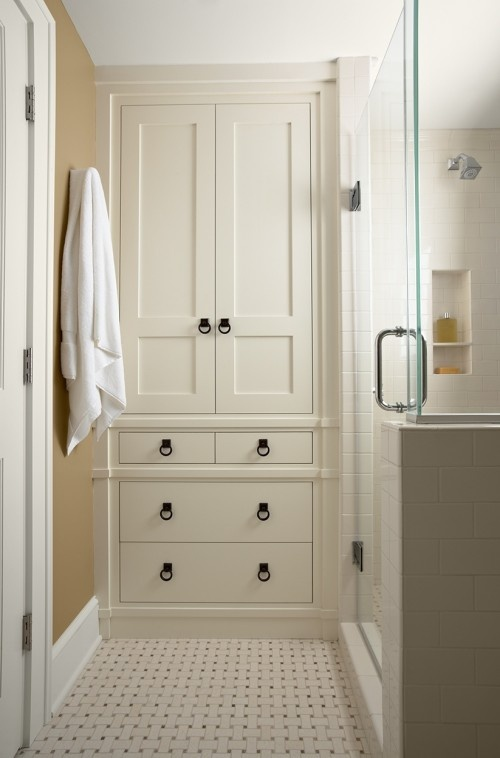 built-in condo bathroom cabinet