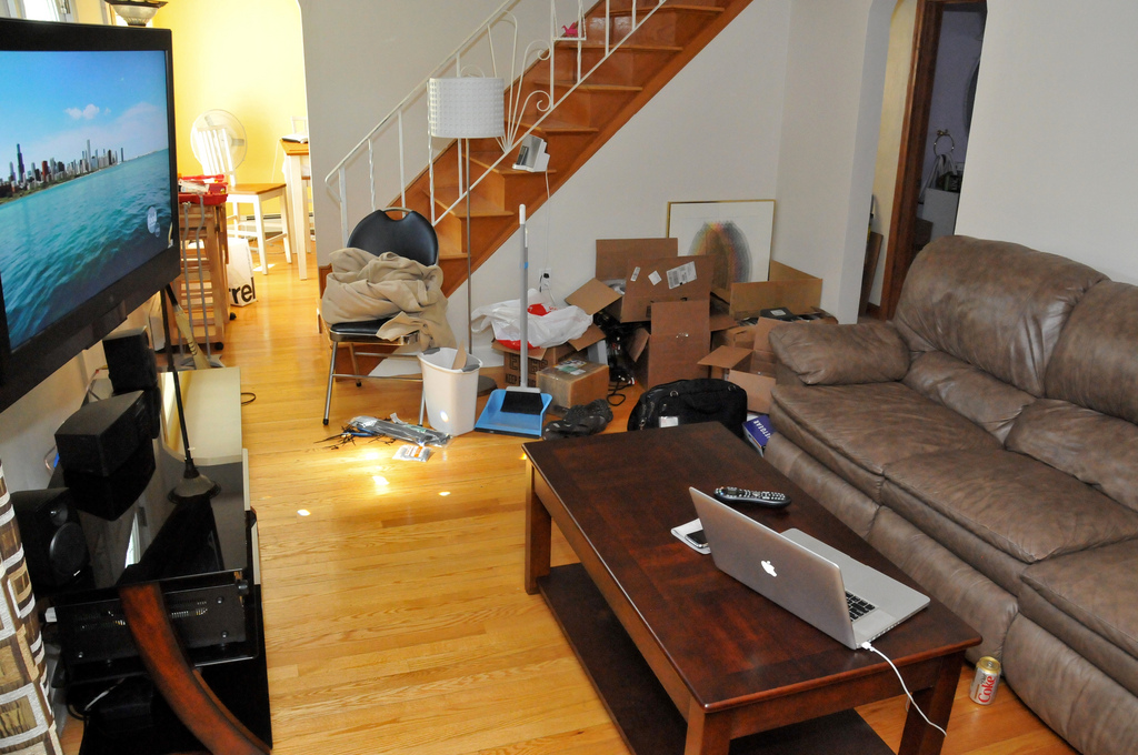 the living room, looking damn messy