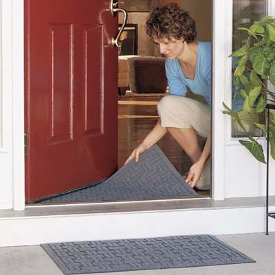 Use two welcome doormats