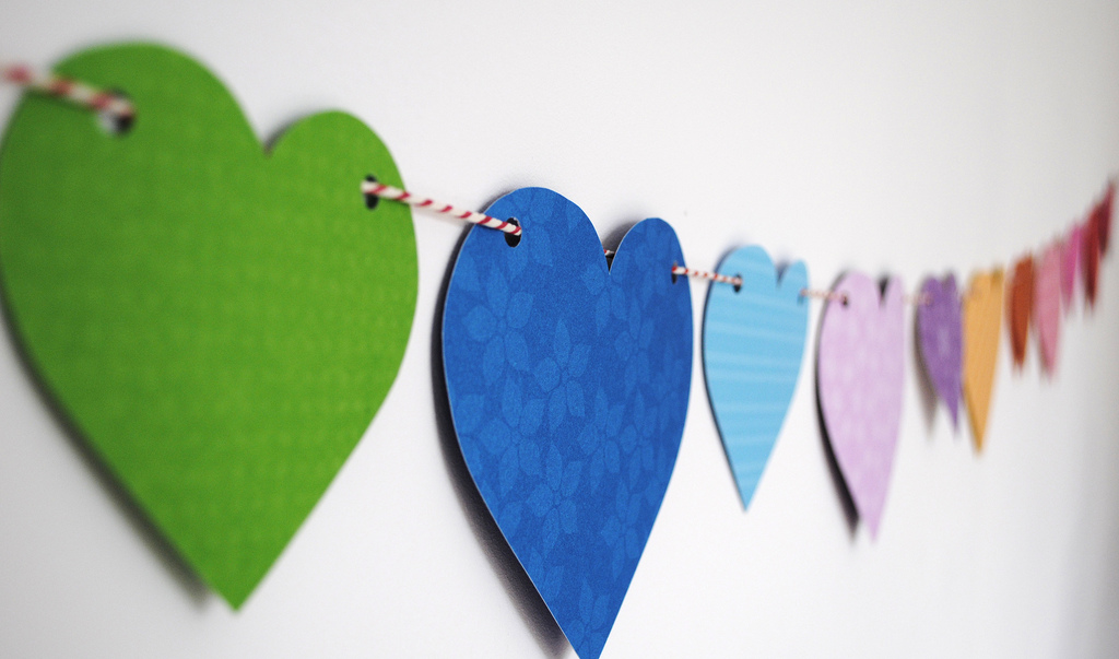 Rainbow-inspired Heart Paper Bunting