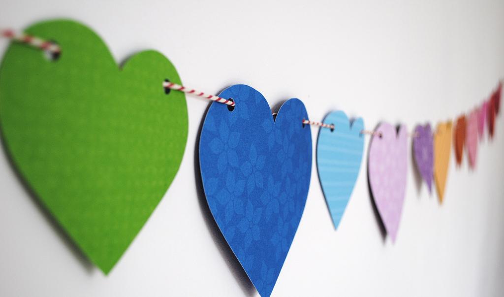 Rainbow-inspired Heart Paper Bunting