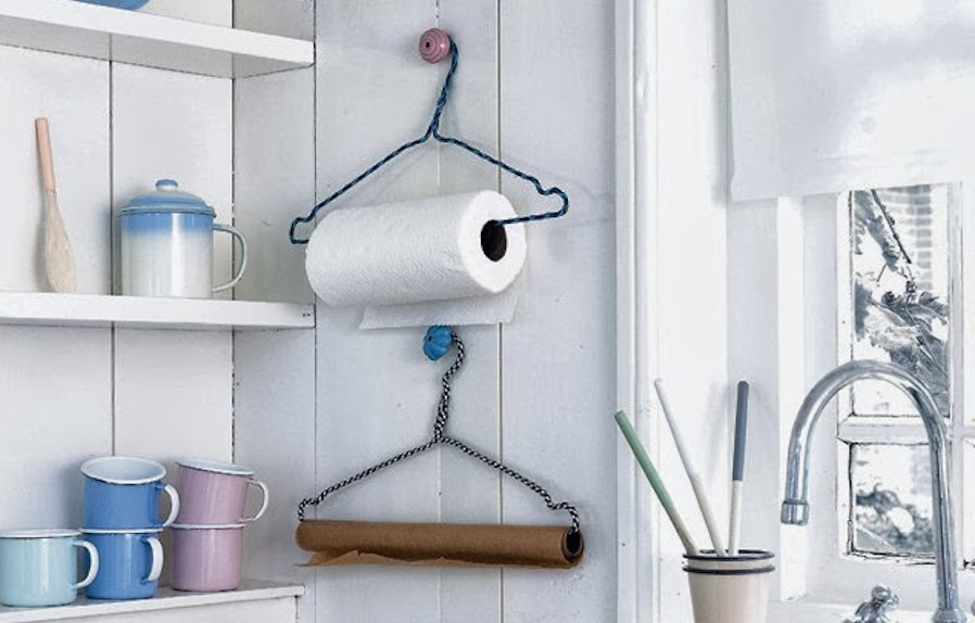 Clothes hangers and tissue rolls