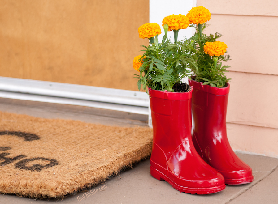 Rain boots planters