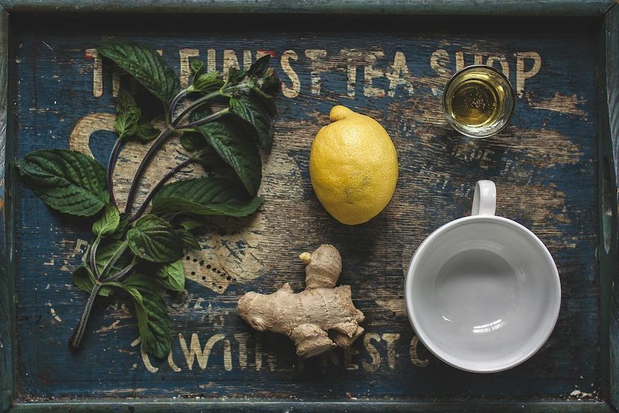 minty ginger and lemon tea