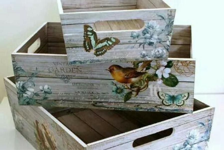 handsome decoupage crates