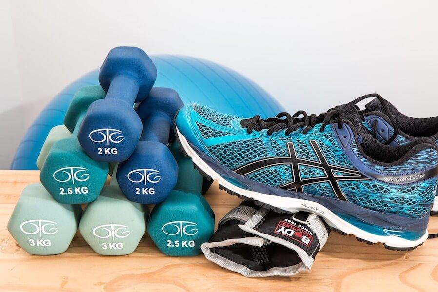 dumbbells and training shoe