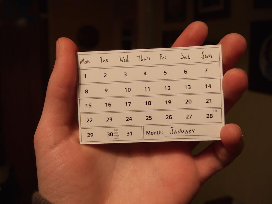 January calendar card
