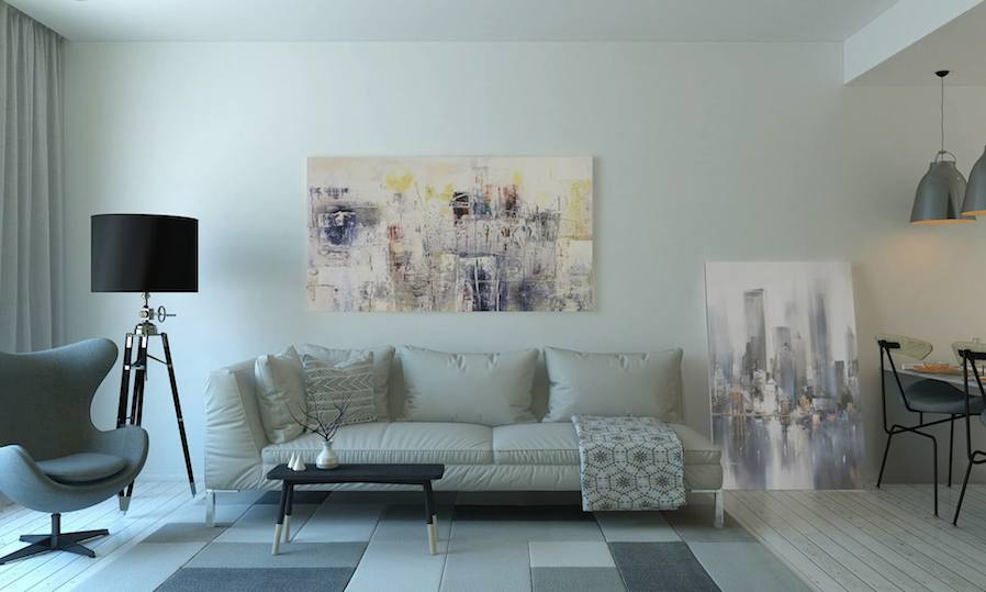 living room with two elegant paintings