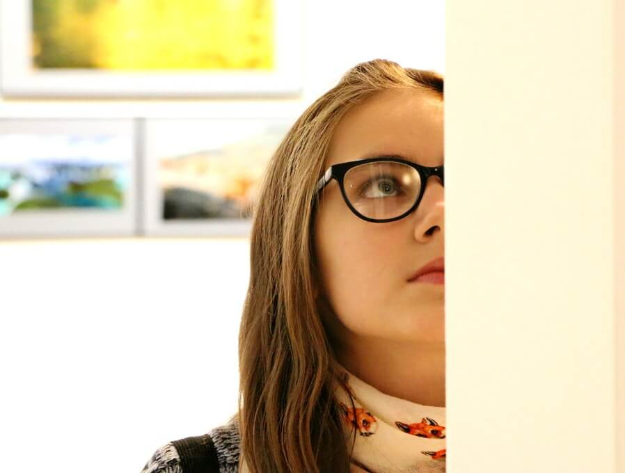 woman viewing painting arts