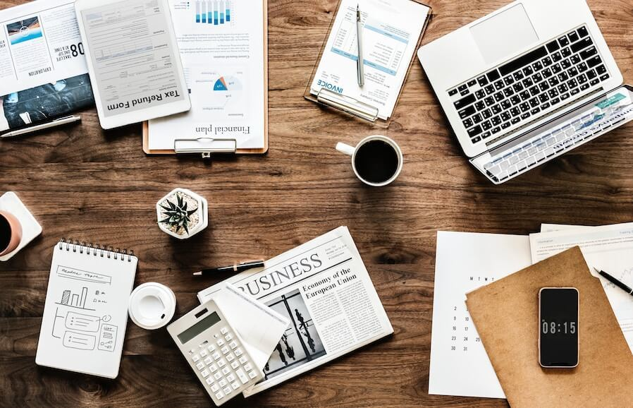 Table full of accounting and reporting items