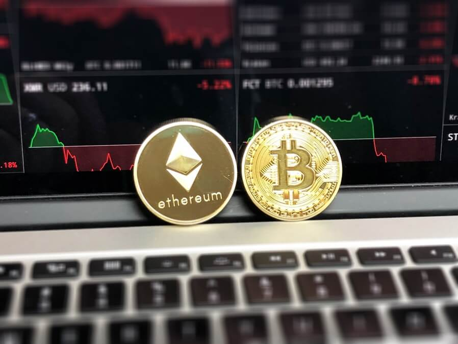 ethereum and bitcoin gold coins