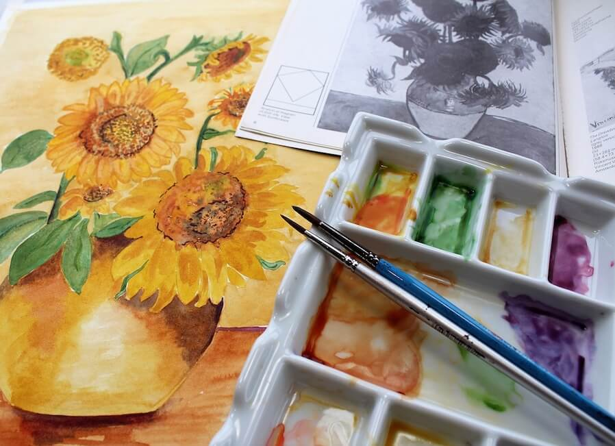 watercolour paint of sunflower