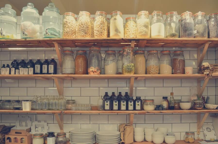 cabinet full of glas jars