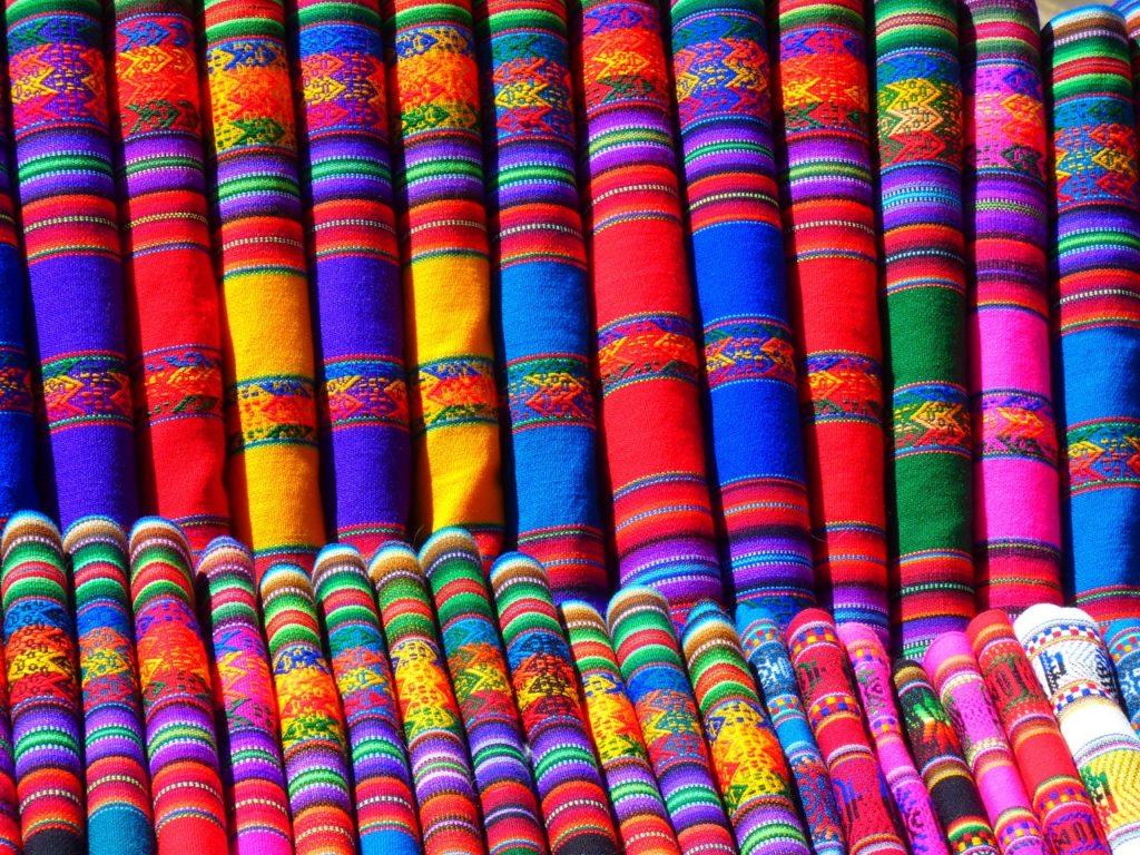 colorful fabrics wall