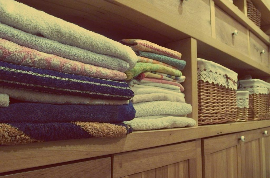 Towels in cabinet