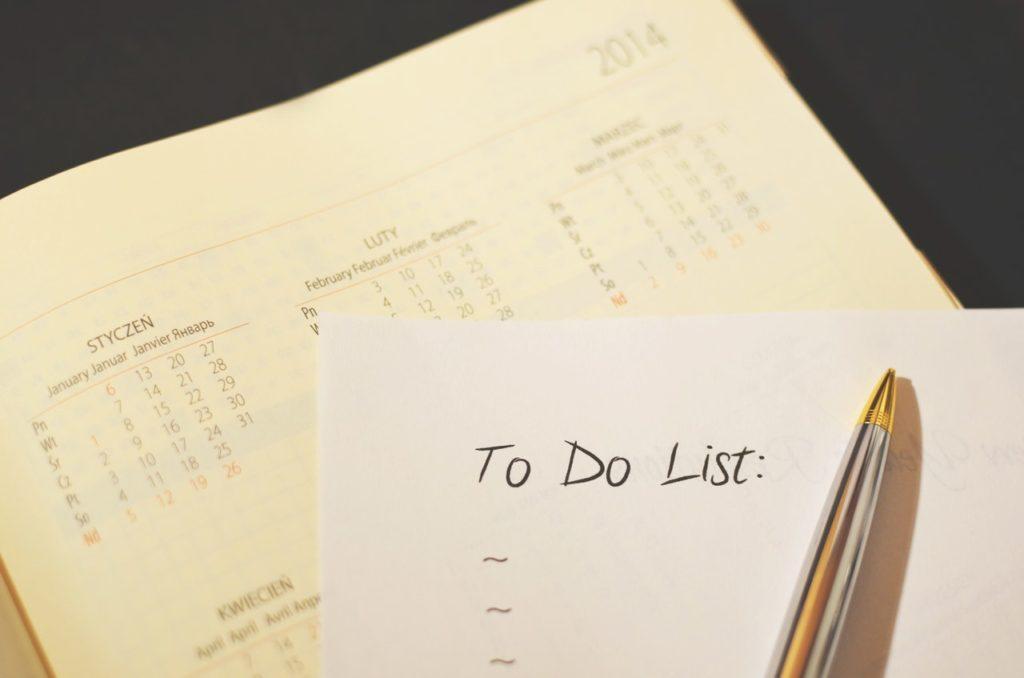 agenda calendar checklist