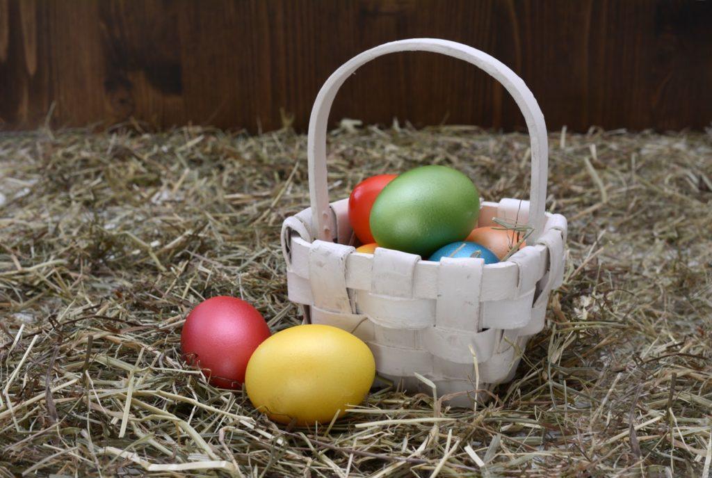 basket colourful egg decoration