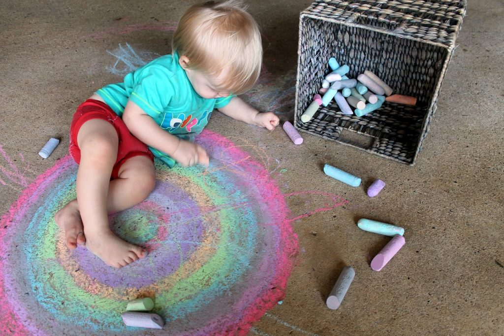 child kids chalk floor