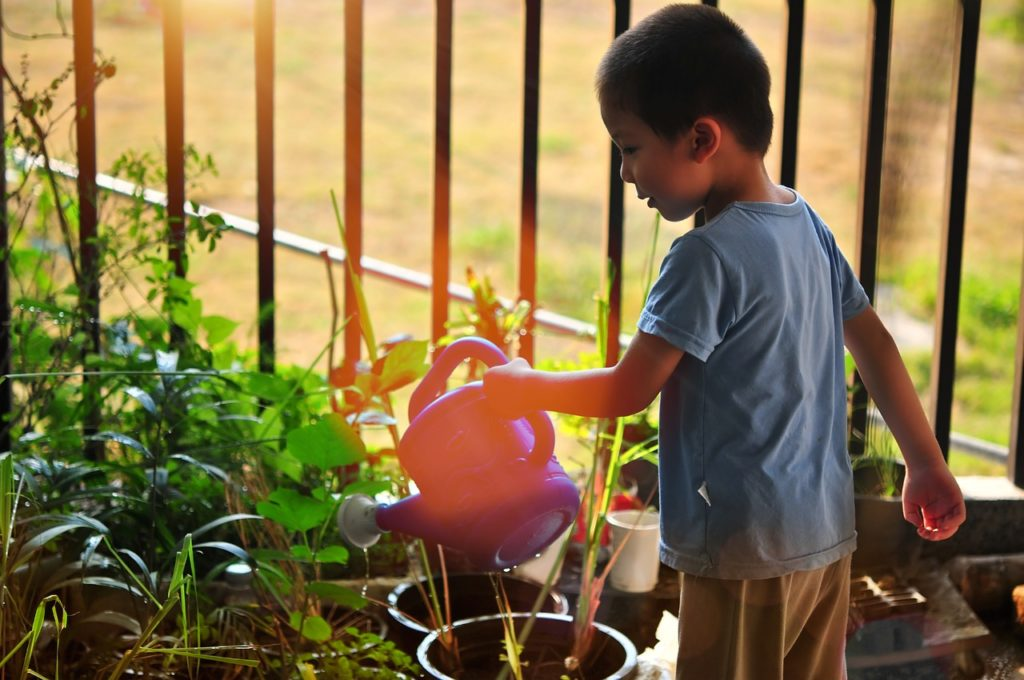 kids watering plants
