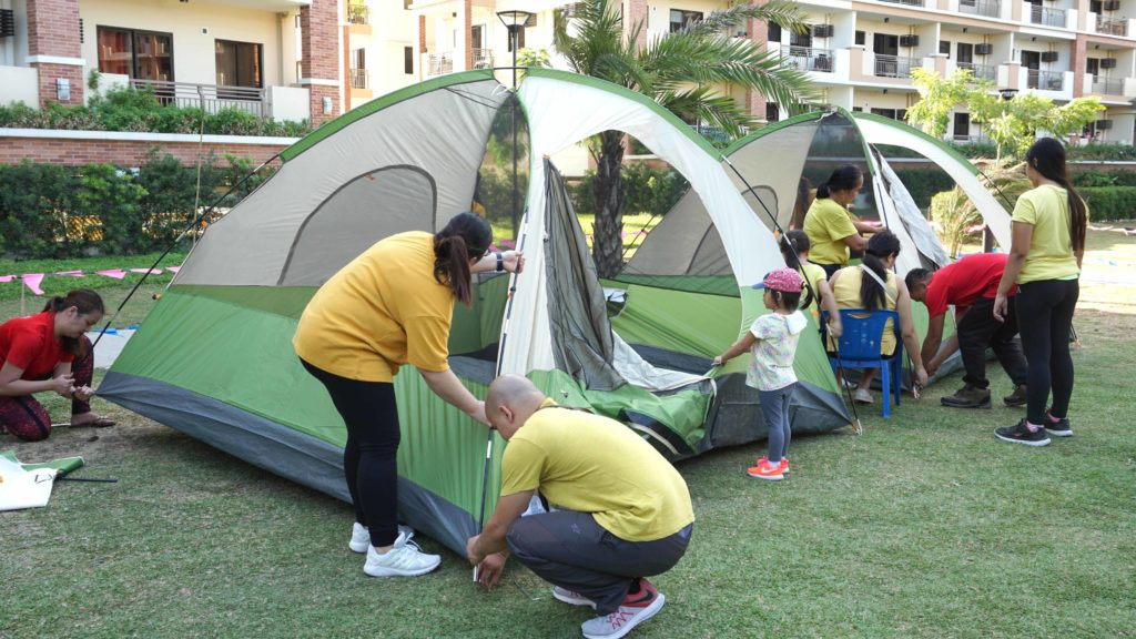 Everyone, including the children pitched their tents.