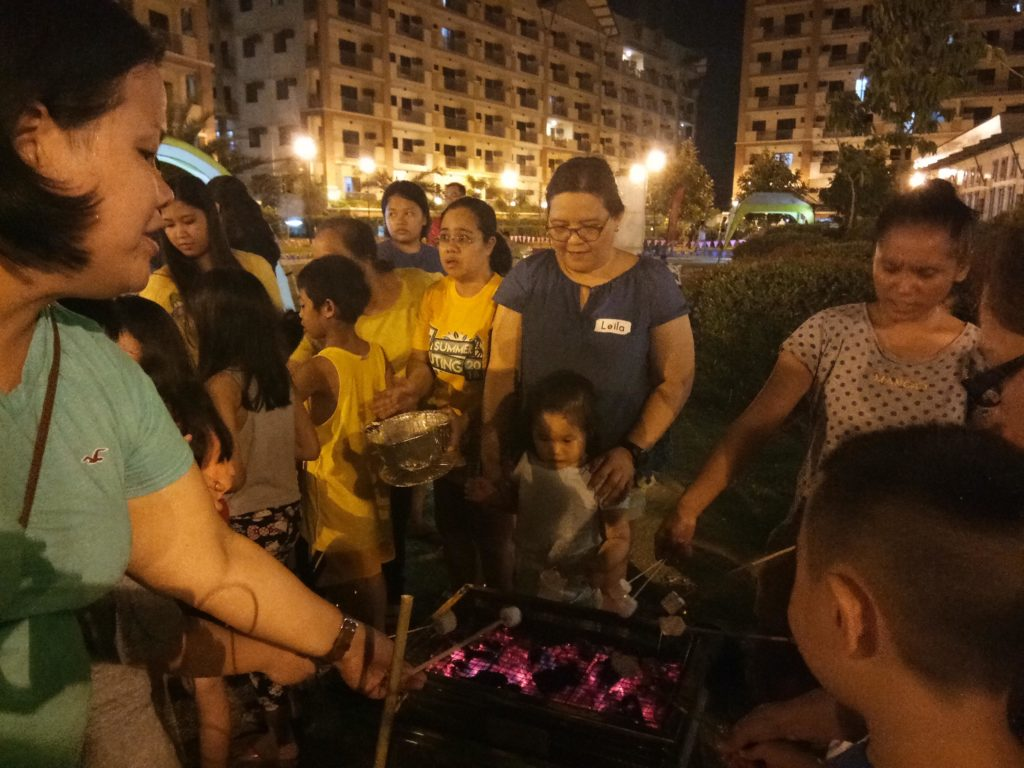 S'mores making: one of the many activities for the participating families.
