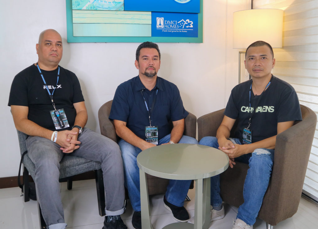 (From left to right) Robert Reyes and Philip delos Reyes of Team Lightspeed and Miguel Arle of Carmavens Autoshow.