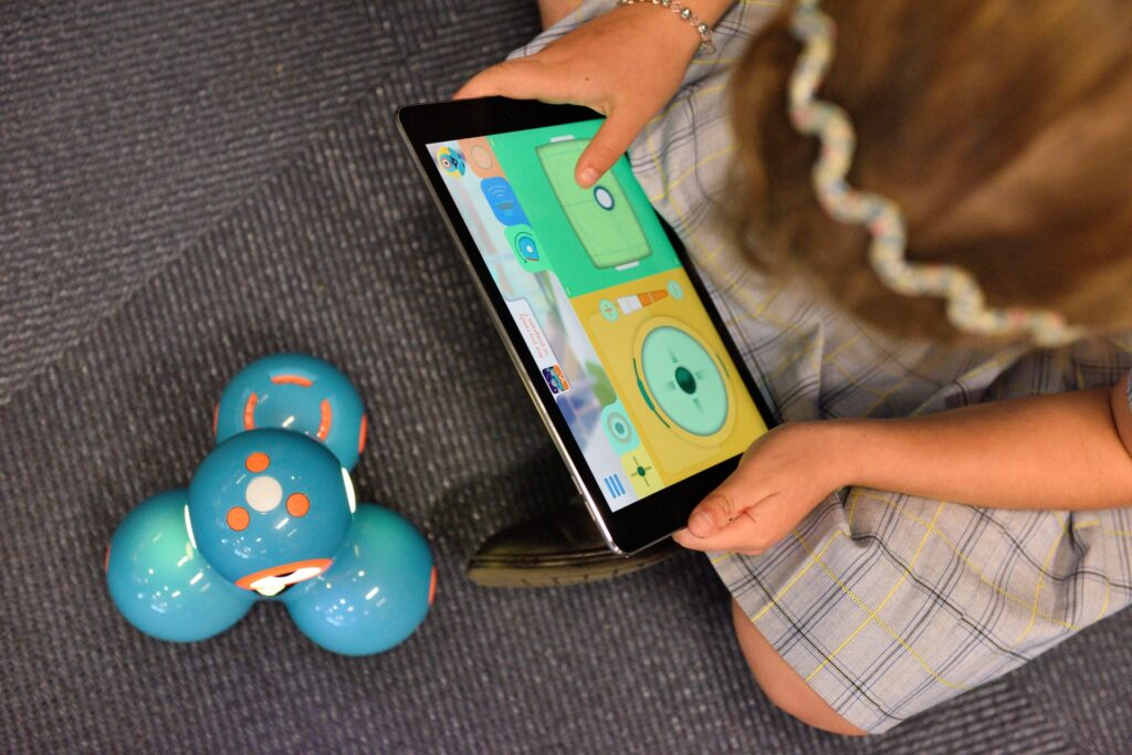 kid playing tablet