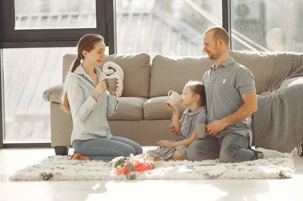 family having fun living room